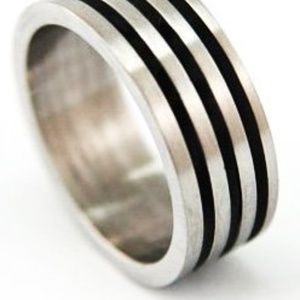 Stainless Steel Rubber Band Ring Men Size 7.5